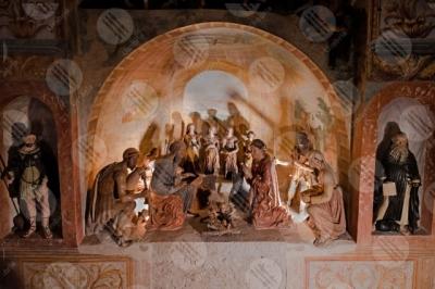 calvi-dell-umbria Presepe Monumentale Oratorio di Sant'Antonio statue terracotta dettagli particolari colori arte storia