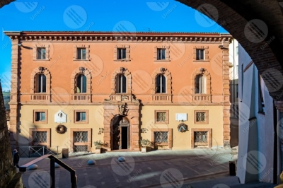 marsciano historical centre municipal residence municipal palace facade road sky clear sky