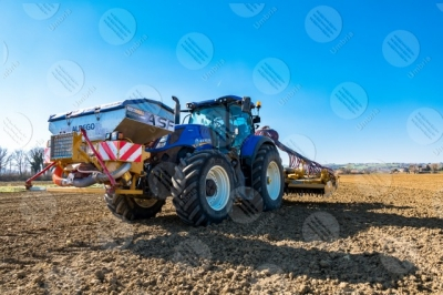 umbria agricolture field tractor work countryside sky clear sky
