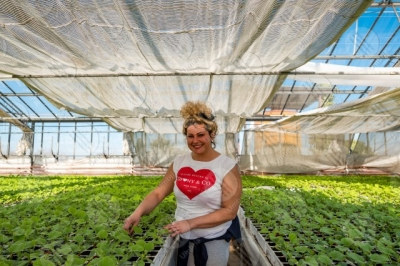 umbria agricolture cultivation greenhouse seedlings work worker girl