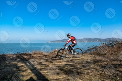 trasimeno Trasimeno lake bike bicycle cyclist San Feliciano water sky clear sky man panorama view landscape shore