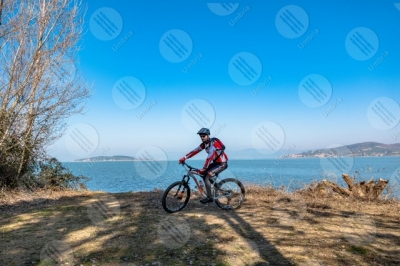 trasimeno Trasimeno lake bike bicycle cyclist shore water sky clear sky panorama view landscape man San Feliciano Polvese Island
