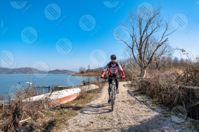 trasimeno Trasimeno lake bike bicycle cyclist shore boats water pathway sky panorama view landscape man swans clear sky