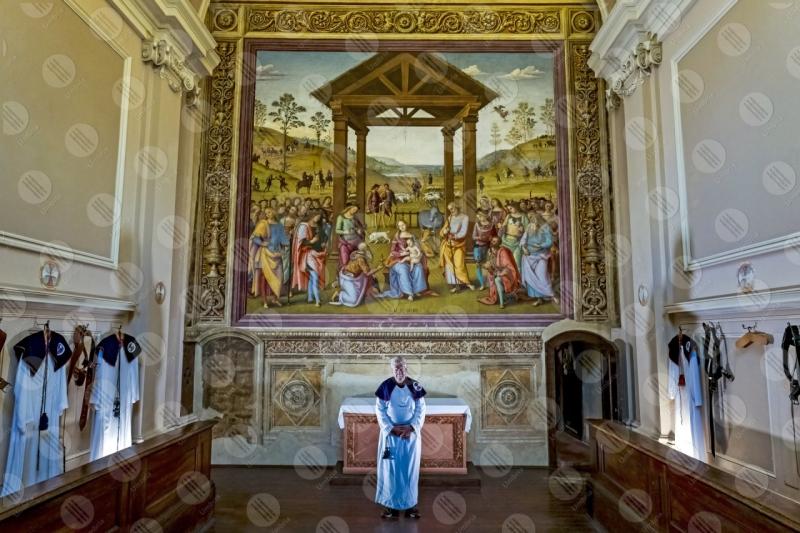 Oratorio di Santa Maria dei Bianchi Adorazione dei Magi Città della Pieve Perugino affresco arte  Città della Pieve