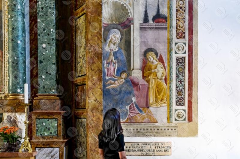Convento di San Fortunato Benozzo Gozzoli dipinti arte donna ragazza  Montefalco