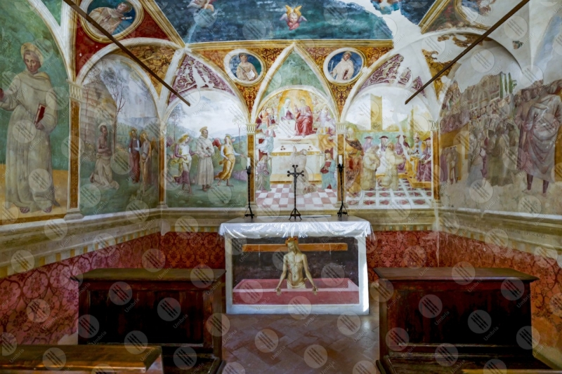 Convento di San Fortunato Tiberio D'Assisi Cappella delle rose dipinti arte altare  Montefalco