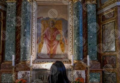 montefalco Convento di San Fortunato Benozzo Gozzoli paintings details particulars art woman girl