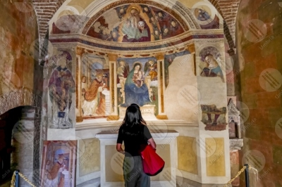 montefalco Convento di San Fortunato altar paintings woman girl