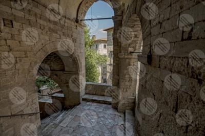 Todi historical centre alleys foreshortening