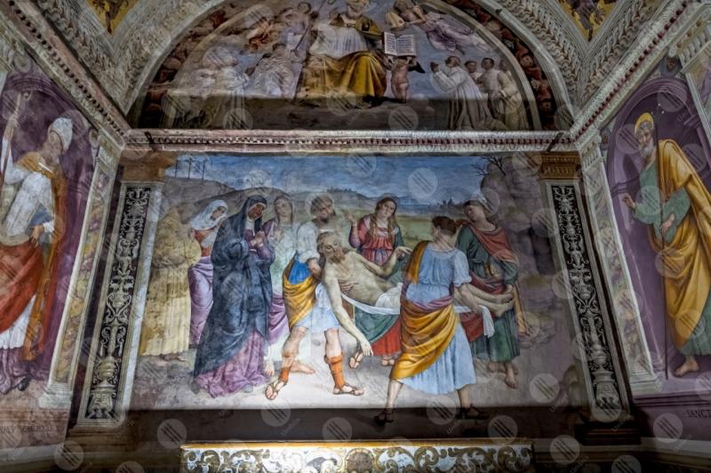 Chiesa Monumentale della Madonna della lacrima traslazione del corpo di Cristo Giovanni Di Pietro lo Spagna affresco arte  Trevi