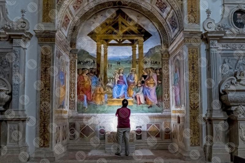 Chiesa Monumentale della Madonna della lacrima Pietro Vannucci Perugino affresco arte uomo  Trevi