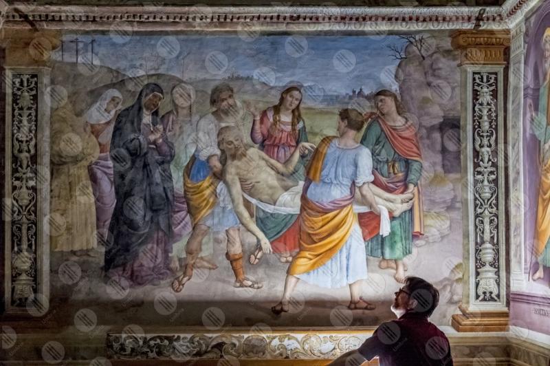 Monumental church of Madonna della lacrima translation of the body of Christ Giovanni Di Pietro lo Spagna fresco art man  Trevi