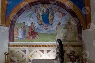 trevi Convento San Martino Cappella di Cesare e Minerva Giovanni Di Pietro lo Spagna affresco arte donna suora
